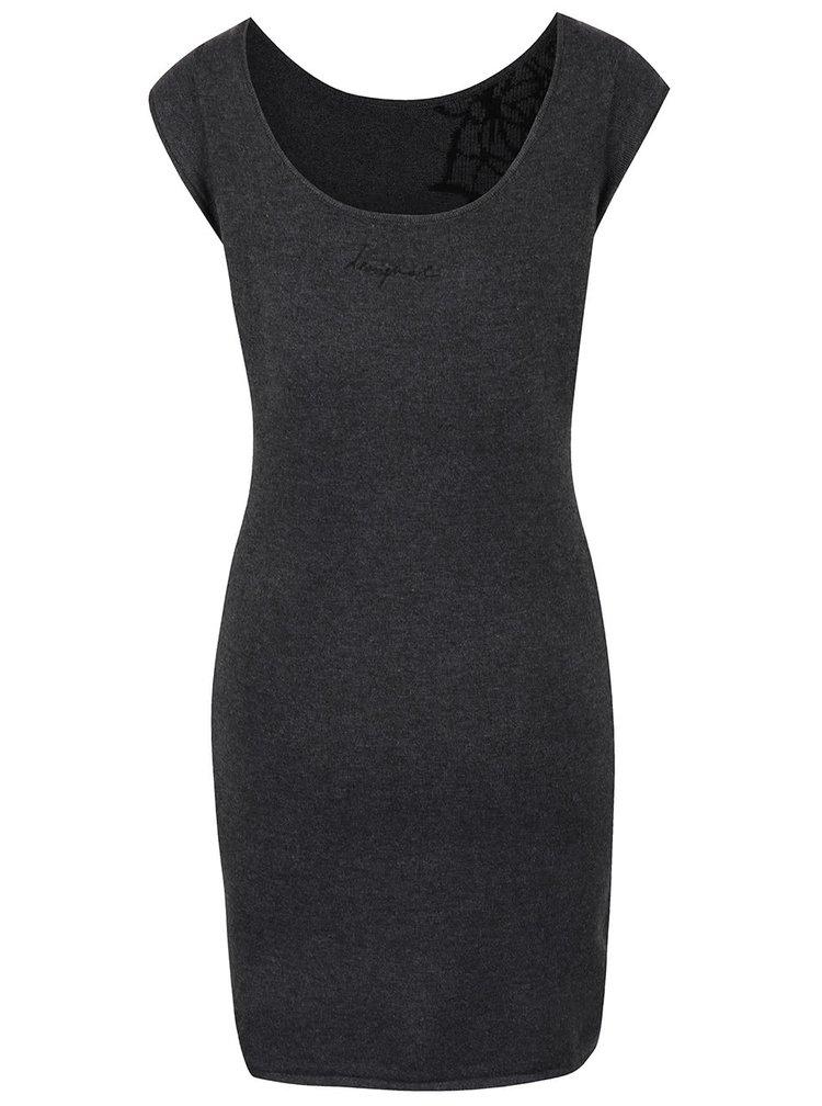 Tmavosivé svetrové šaty s čiernymi ornamentmi Desigual Coral