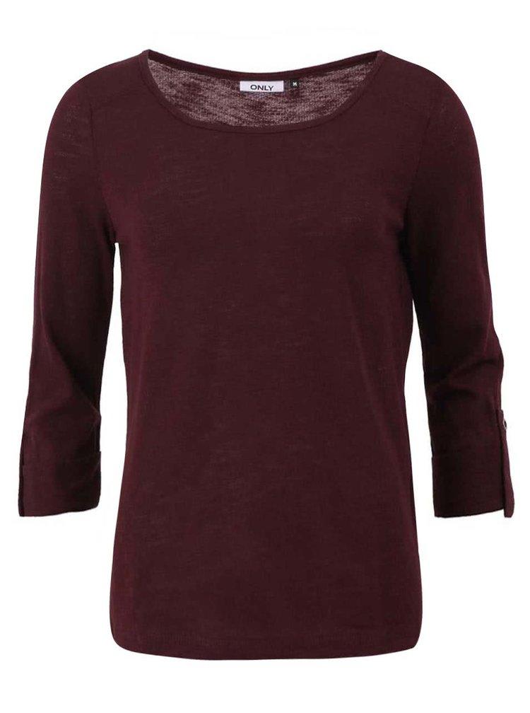Tmavě vínové tričko s 3/4 rukávem ONLY Jess