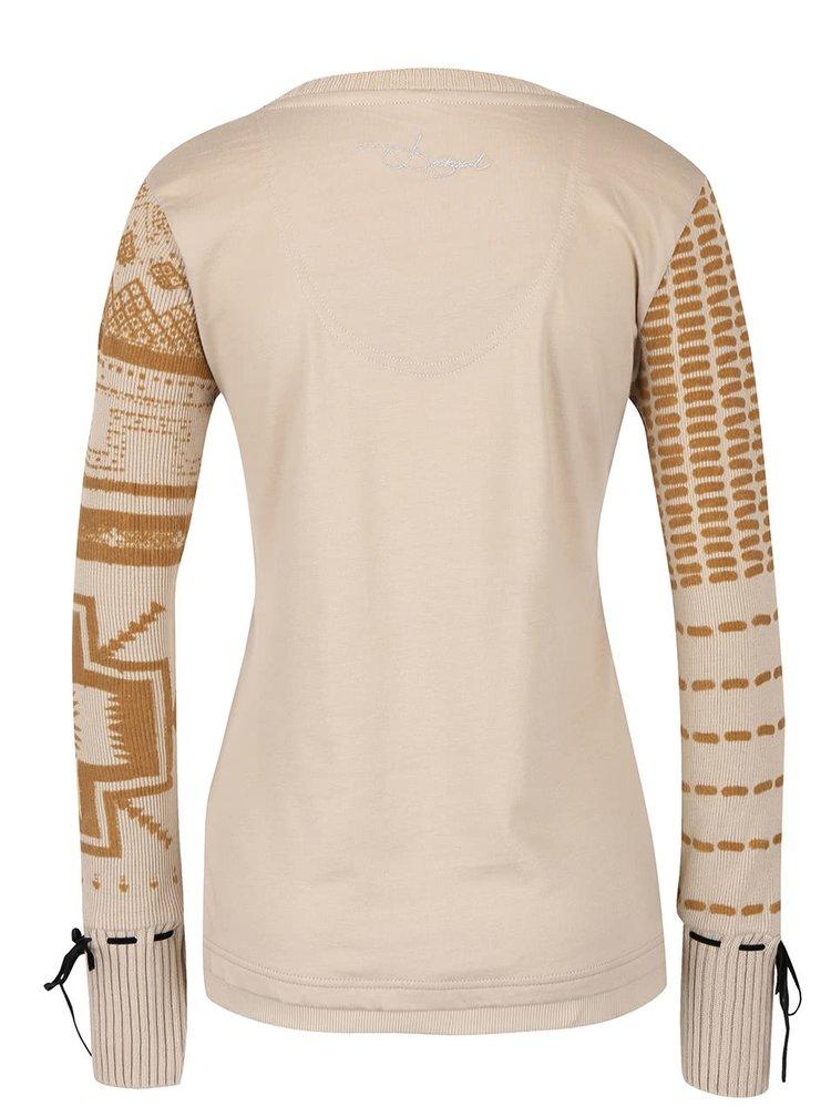 Béžové tričko s dlhými pletenými rukávmi Desigual Canace