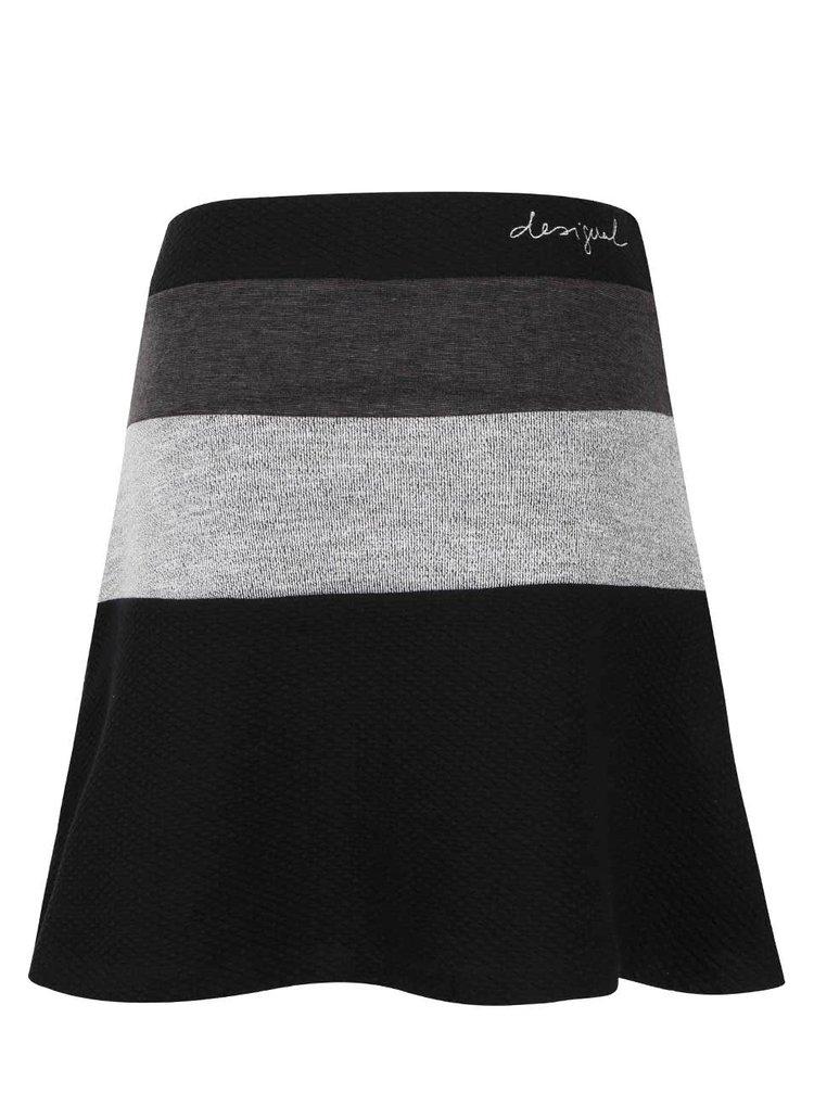 Černá sukně s šedými pruhy Desigual Sophia