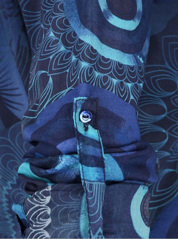 Cămașă tunică albastră Desigual Elko din bumbac