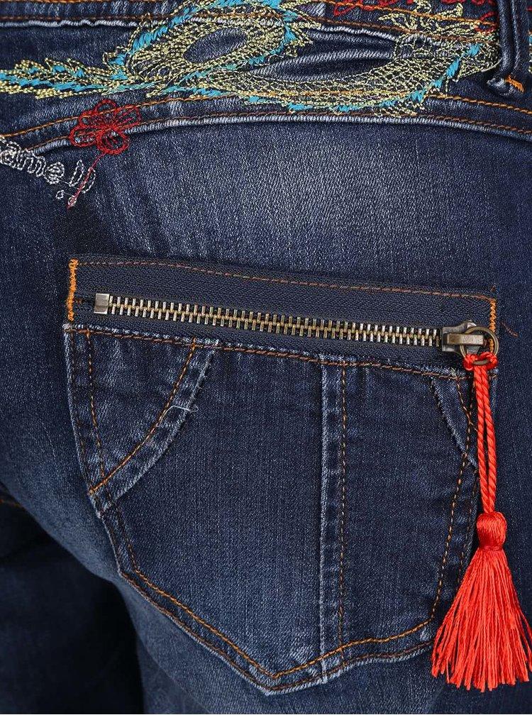Modré vyšisované džíny Desigual Olga