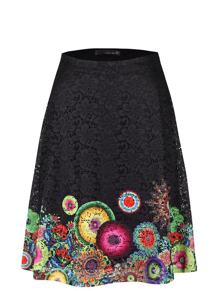 Černá sukně s barevnými květy Desigual Finland
