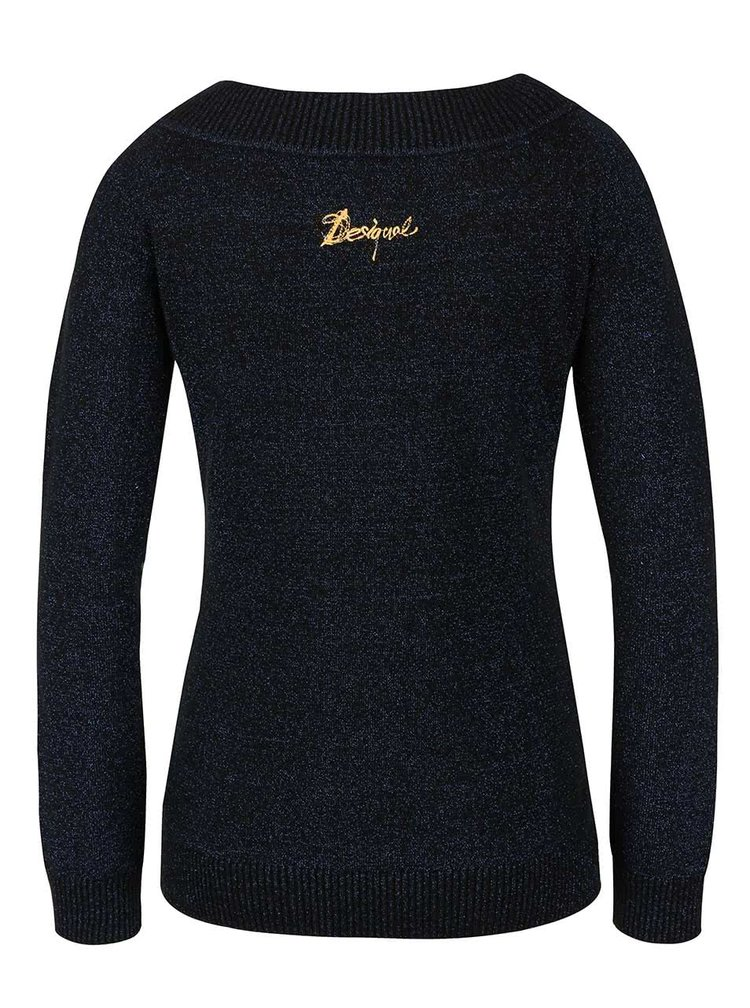 Modro-čierny sveter Desigual Miranda