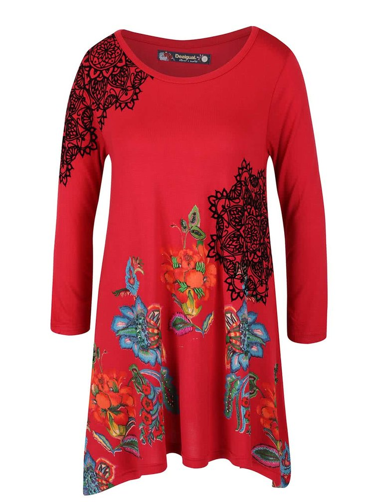 Bluza rosie Desigual Ramona cu tiv asimetric