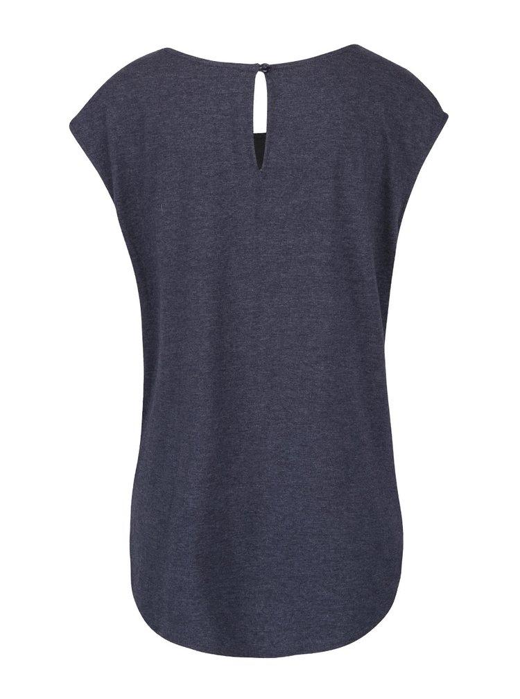 Šedomodré tričko bez rukávů Desigual Cascadia