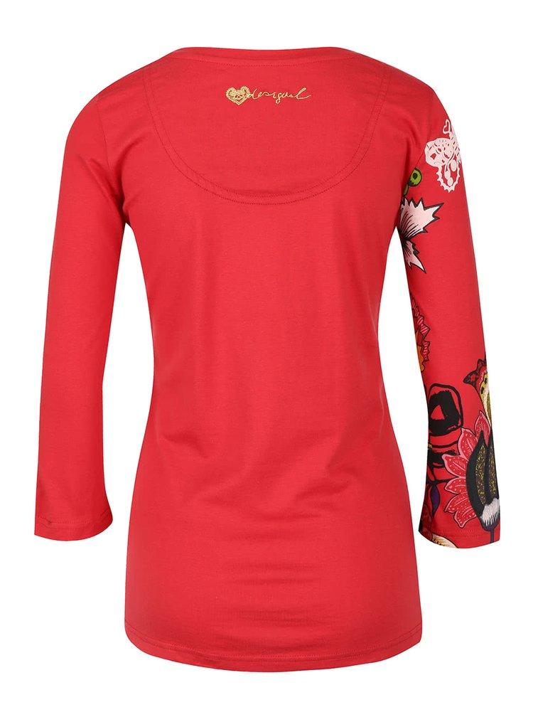 Bluza rosie cu model natura Desigual Carisma
