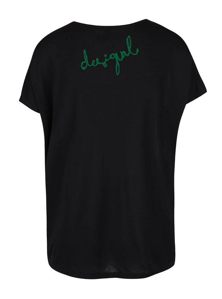 Tricou negru cu model floral Desigual Georgia