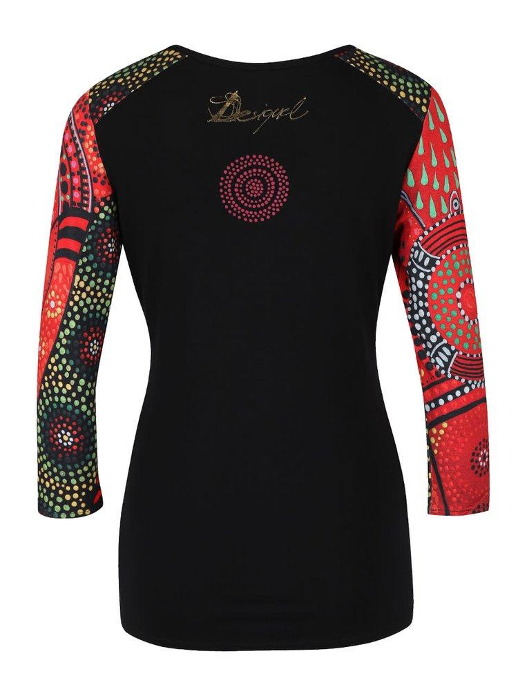Čierne tričko s červenými 3/4 rukávmi Desigual Woman