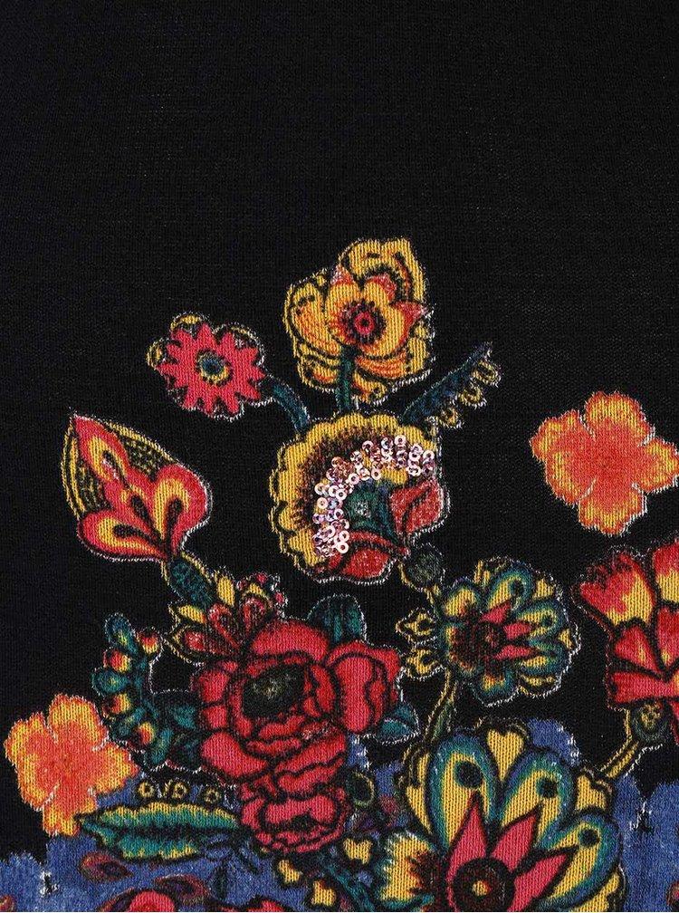 Čierne šaty s farebnými kvetmi Desigual Martina