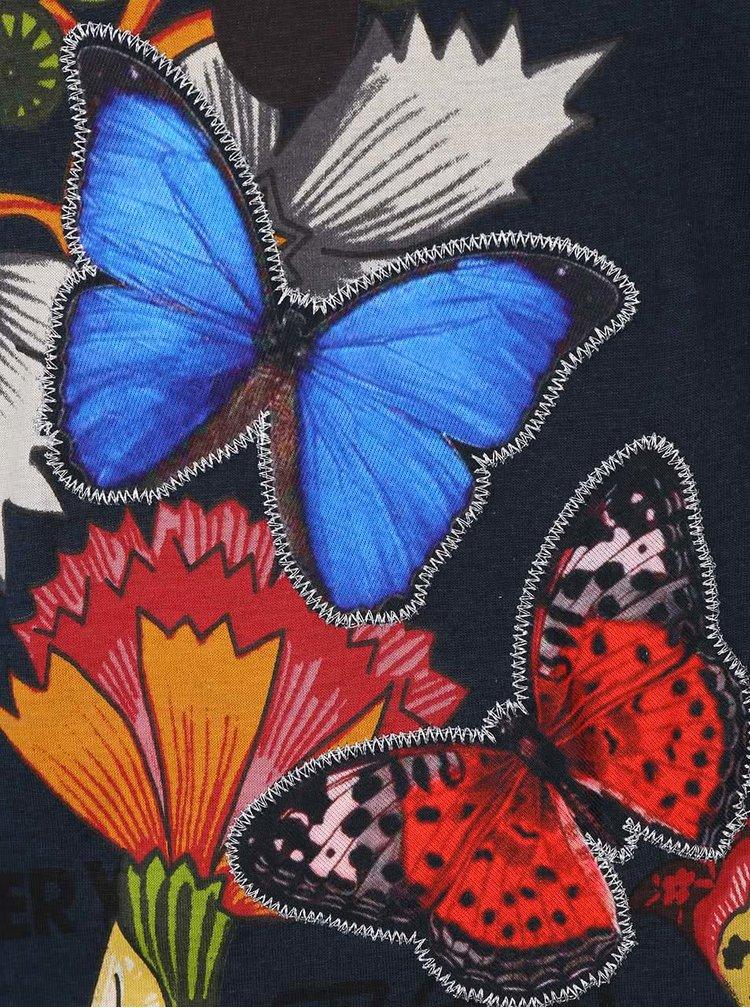 Petrolejové tričko s kvetmi a 3/4 rukávmi Desigual Carisma