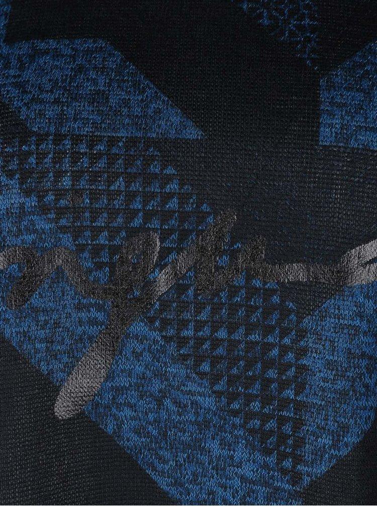 Modro-čierny voľnejší top s geometrickými vzormi Desigual Mabel