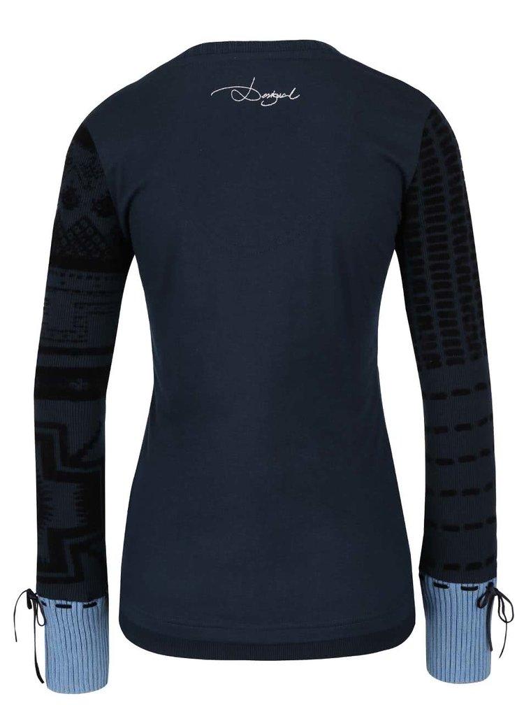 Bluză albastru ultramarin cu model Desigual Canace