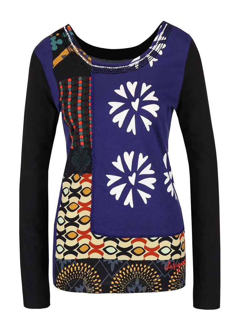 Bluză neagră cu model multicolor Desigual Menorca