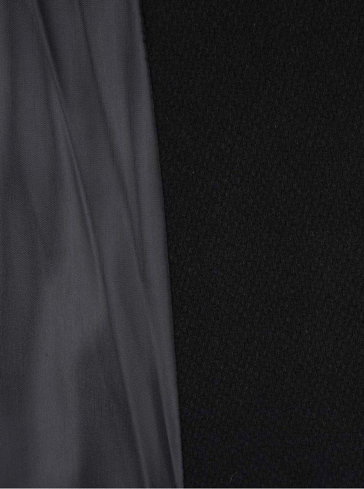 Černý kabát s detaily v krémové barvě Desigual Malta