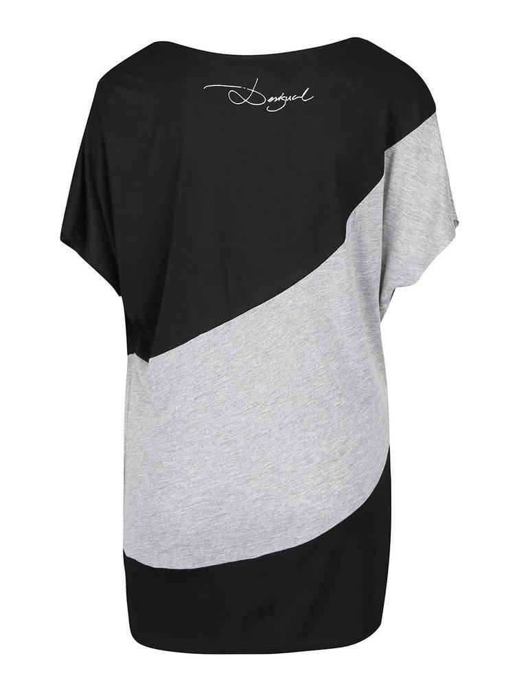Sivo-čierne voľnejšie vzorované tričko Desigual Suiza