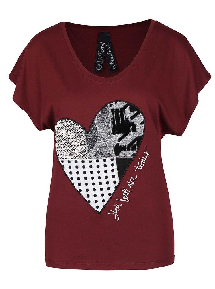 Vínové tričko so srdcom Desigual Beget