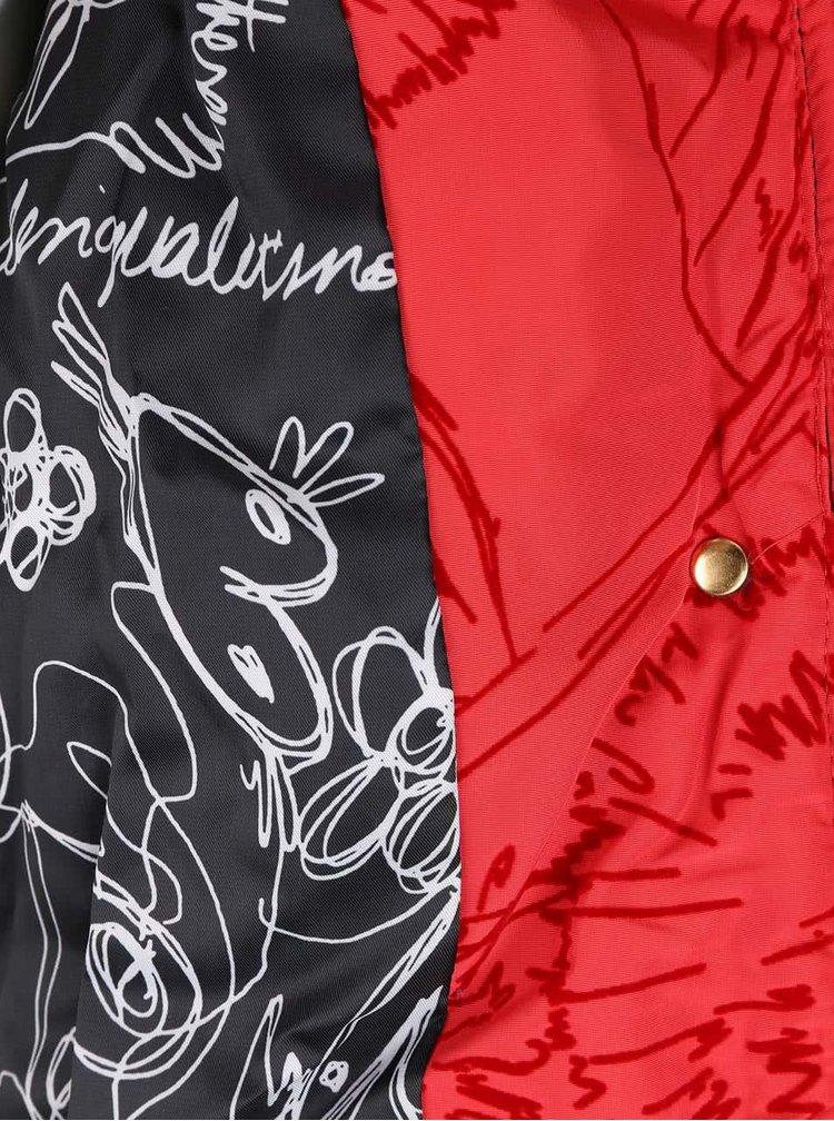 Červená vzorovaná bunda s kapucňou Desigual Marlene