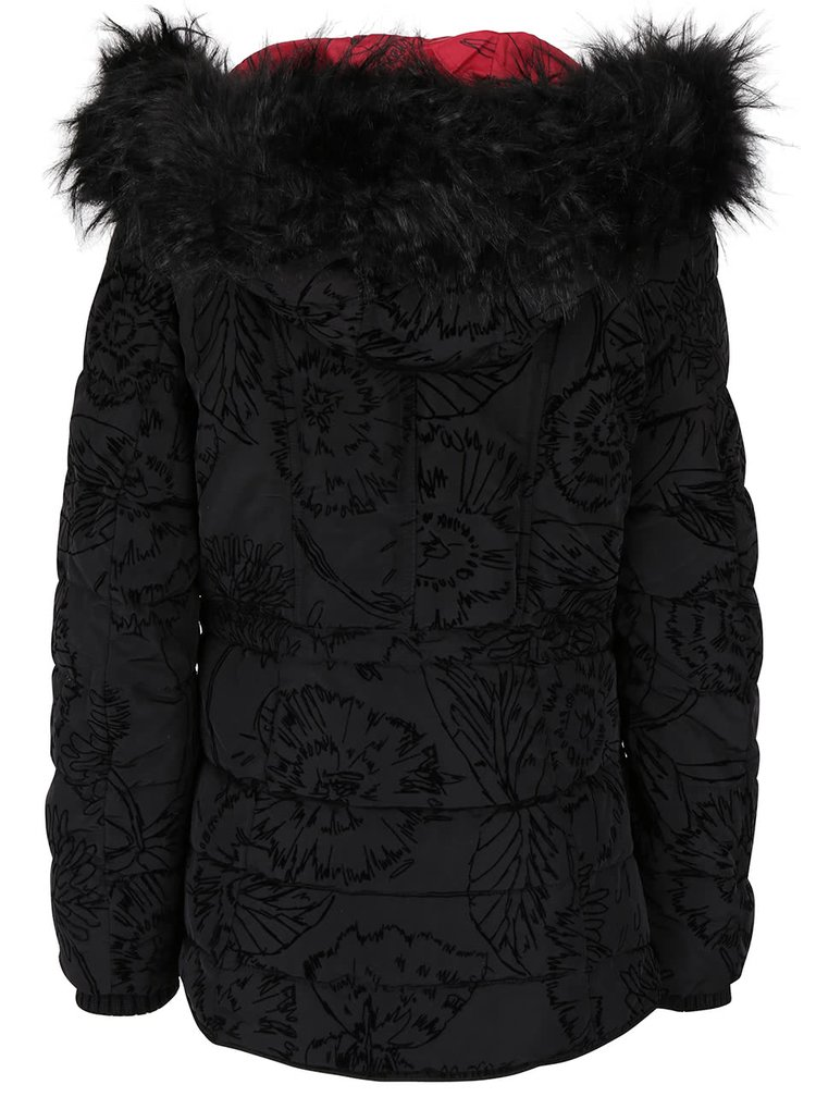 Černá vzorovaná bunda s kapucí  Desigual Marlene