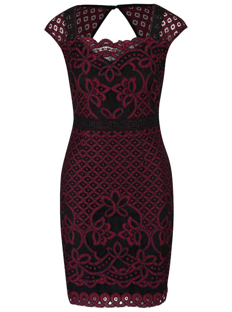 Čierno-vínové šaty s čipkovanými detailmi Lipsy