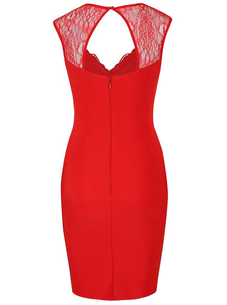 Červené pouzdrové šaty s krajkou Lipsy