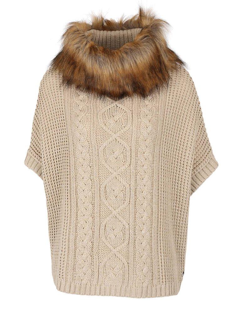 Béžový sveter s rolákom a s umelým kožúškom Lipsy