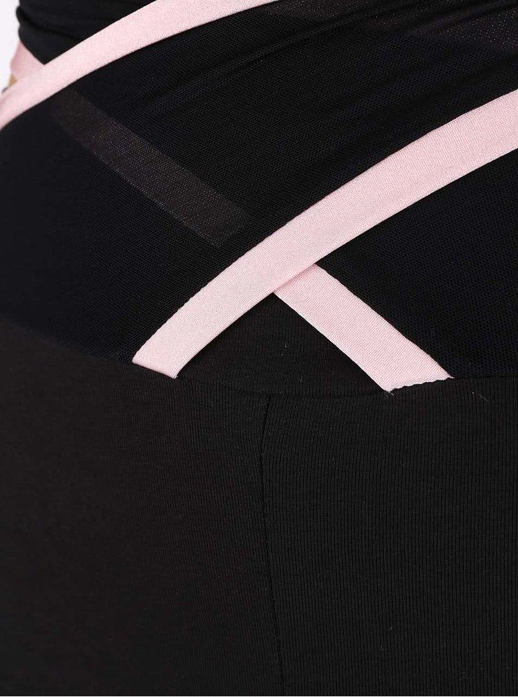 Růžovo-černé legíny s vysokým pasem a ozdobnými elastickými pásy Quontum