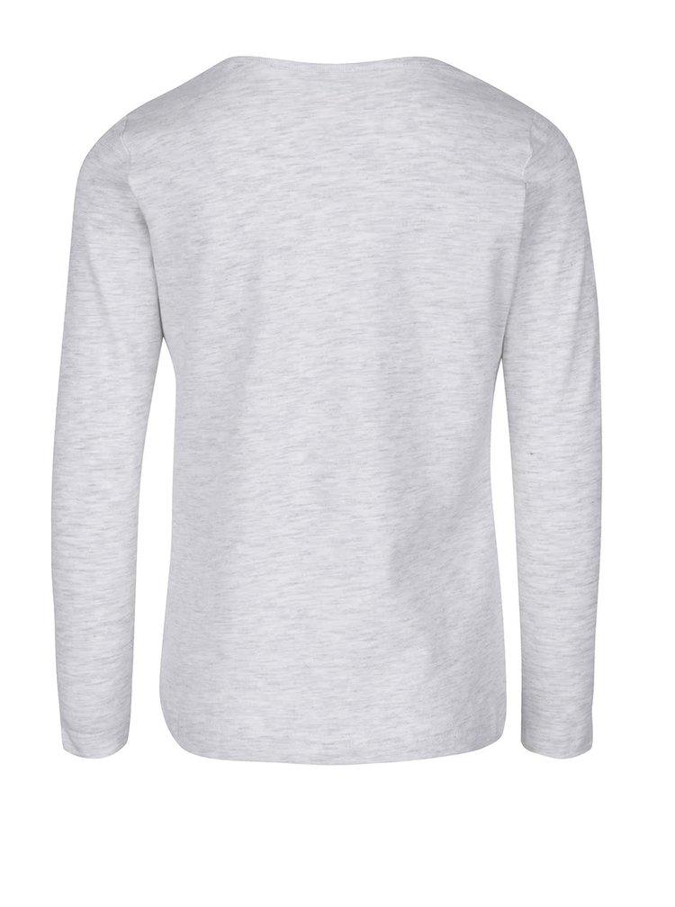 Svetlosivé melírované dievčenské tričko s dlhým rukávom name it Vix