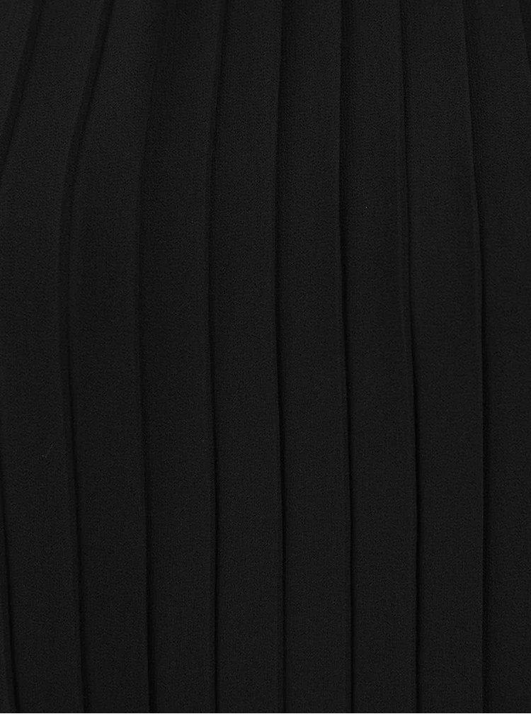 Čierne plisované šaty s golierikom a mašľou VERO MODA Lima