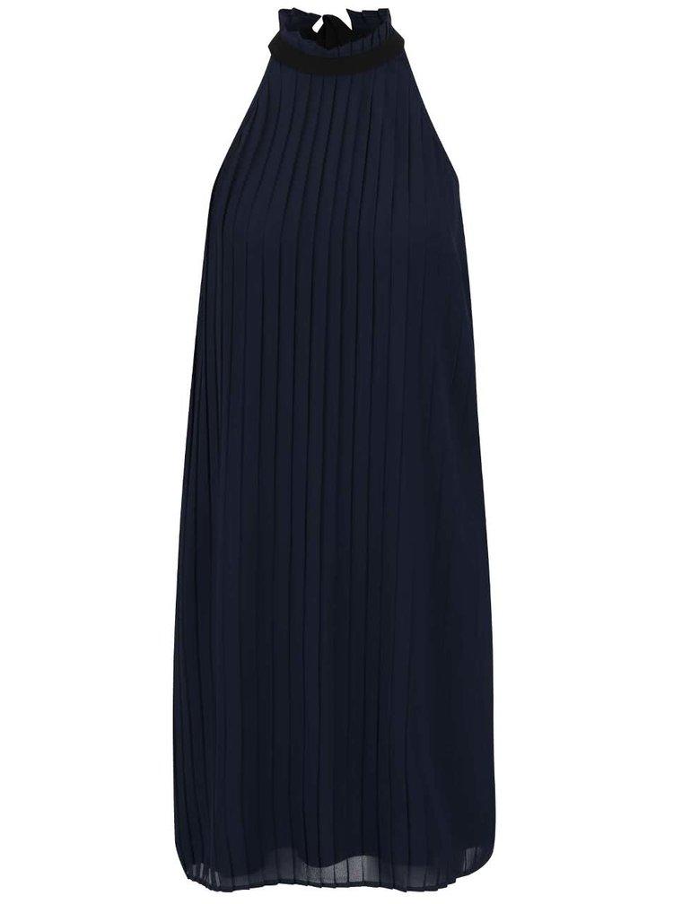 Tmavě modré plisované šaty se stojáčkem a mašlí VERO MODA Lima