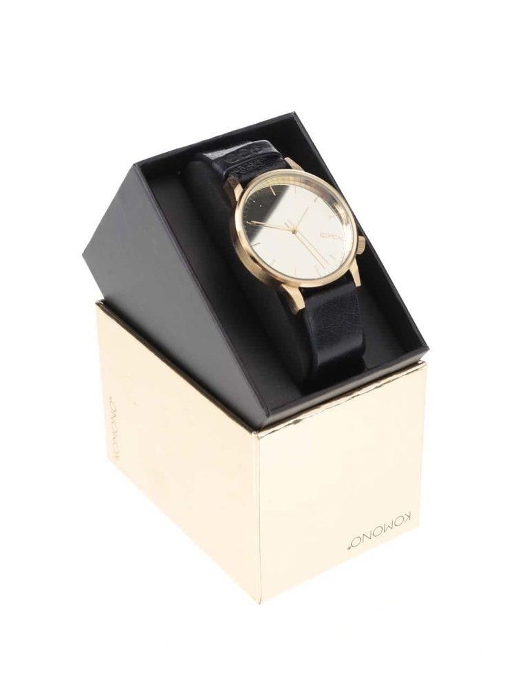 Unisex hodinky ve zlaté barvě s tmavě modrým koženým páskem Komono Winston Mirror