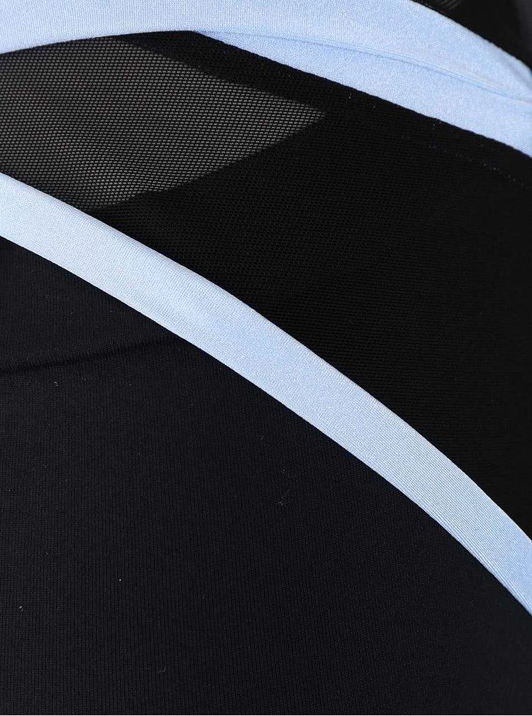 Rochie neagra bodycon Quontum cu insertii albastre