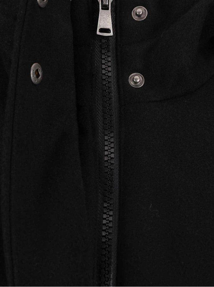 Čierny kratší kabát s kapucňou VERO MODA Modaliga