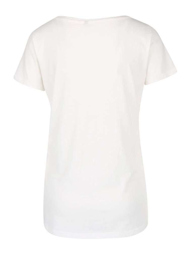 Krémové tričko s potlačou ONLY Relax