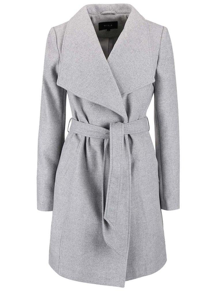 Světle šedý kabát s páskem VILA Director