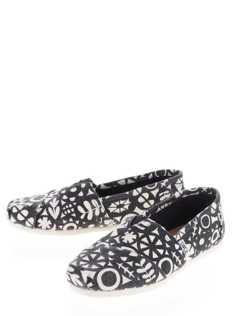 Krémovo-černé dámské vzorované loafers TOMS