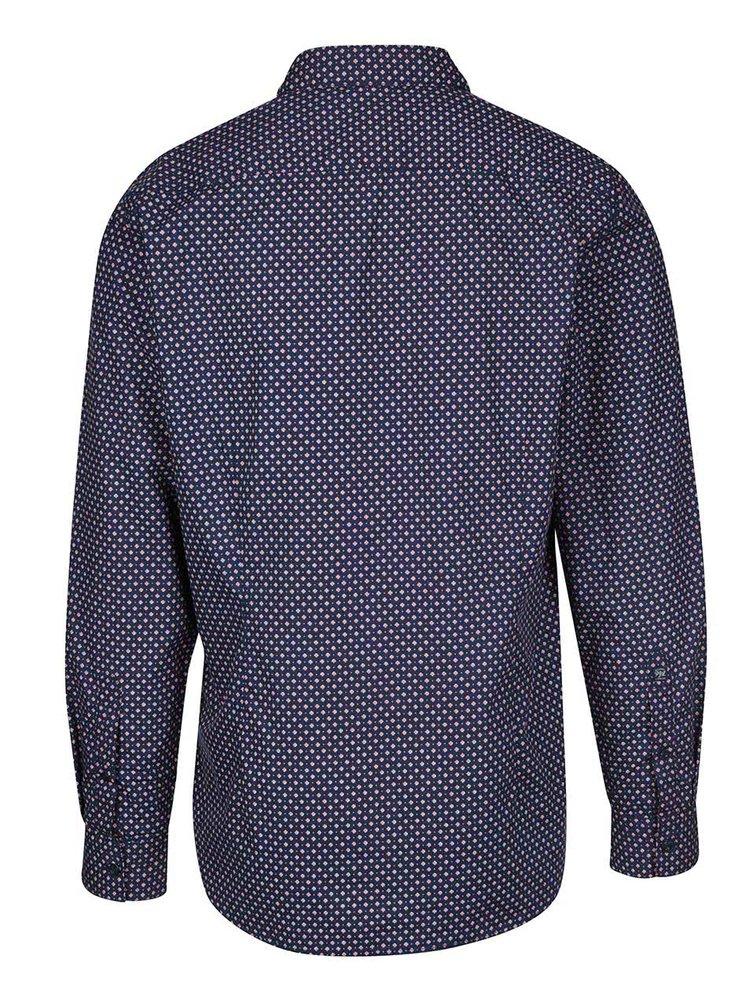 Tmavě modrá pánská slim fit košile se vzorem Pepe Jeans Calengon
