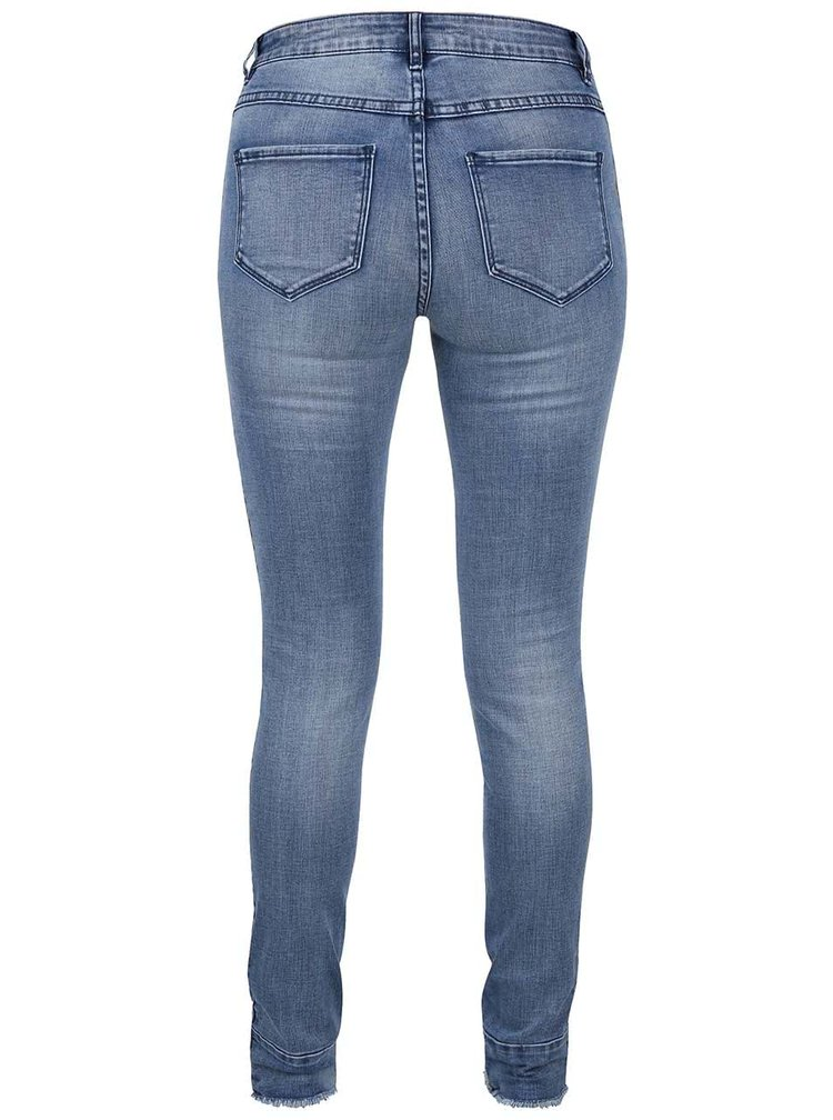 Modré slim fit džíny s roztřepenými nohavicemi VILA Commit