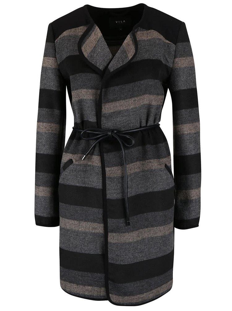 Béžovo-sivý ľahký kabát s opaskom VILA Vallo