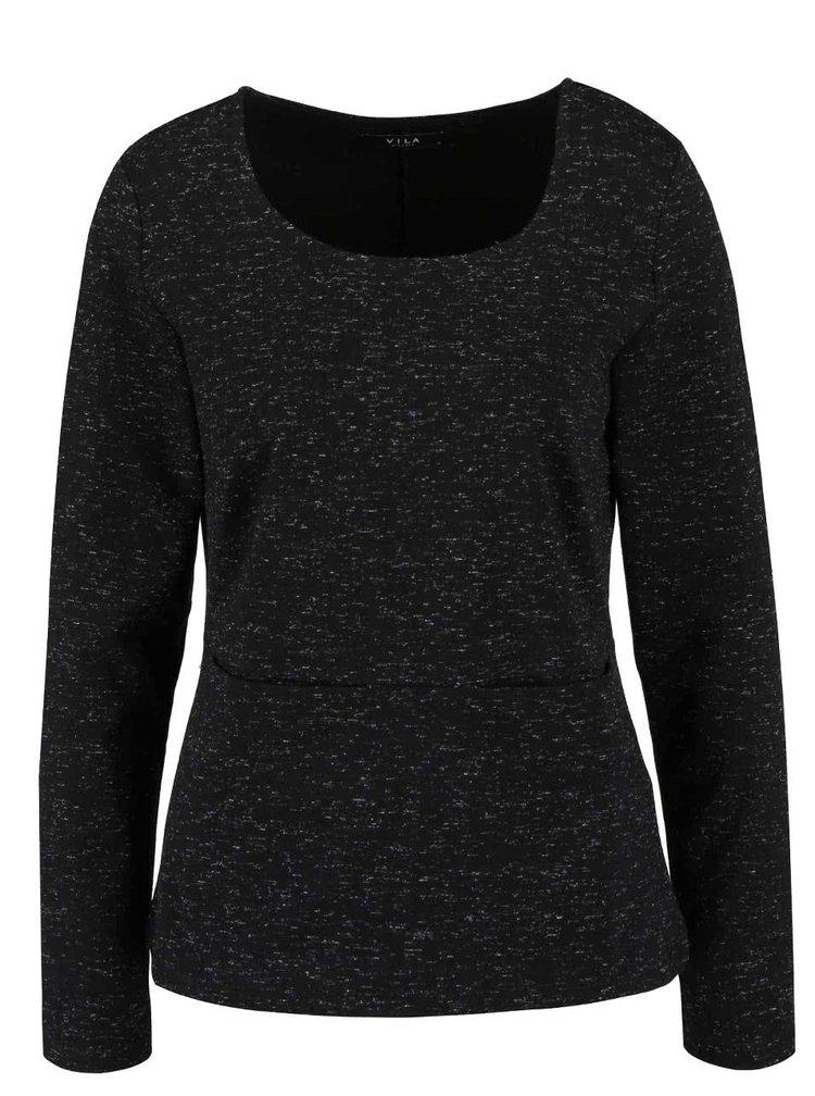 Černé žíhané tričko s dlouhým rukávem VILA Amera