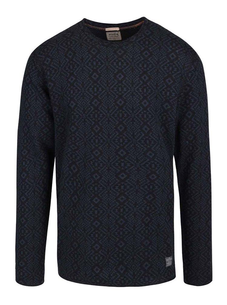 Modro-čierny vzorovaný sveter Jack & Jones Veli