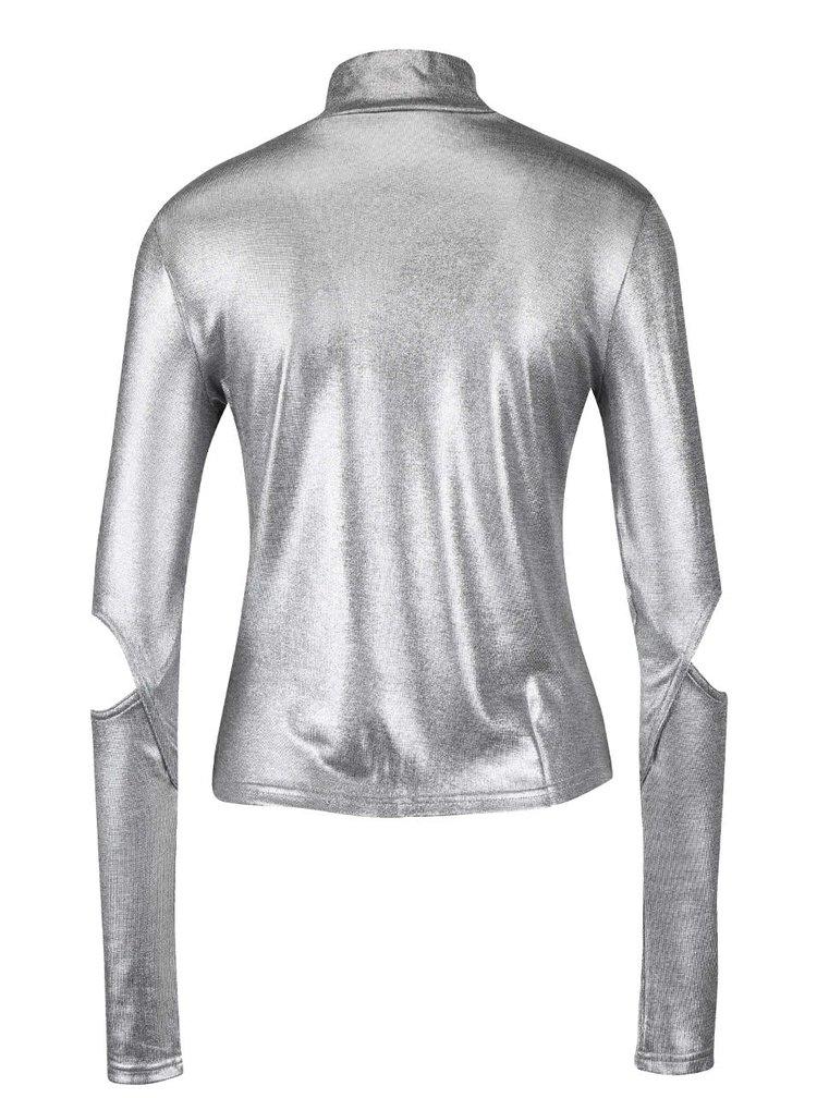 Dámske tričko v striebornej farbe s dlhým rukávom Cheap Monday Rock