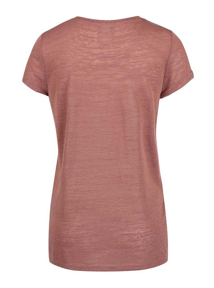 Světle hnědé žíhané tričko s potiskem ONLY Gloria