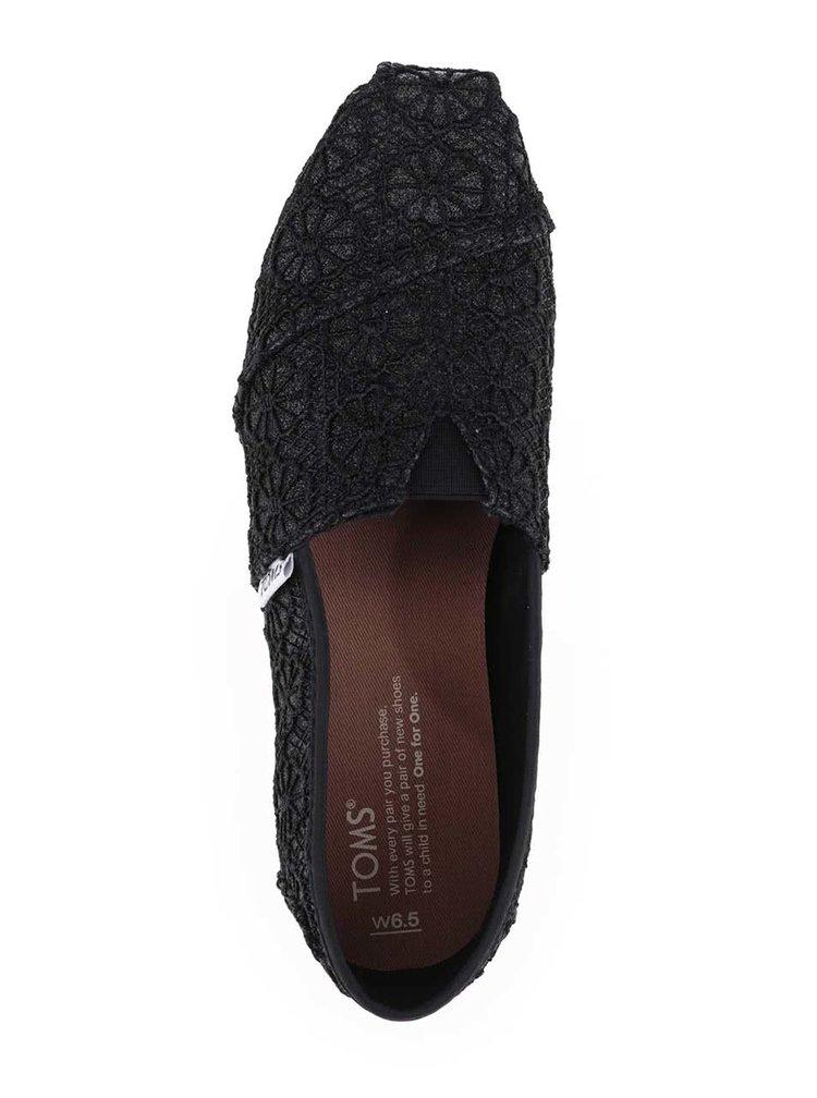 Čierne dámske čipkované loafers Toms