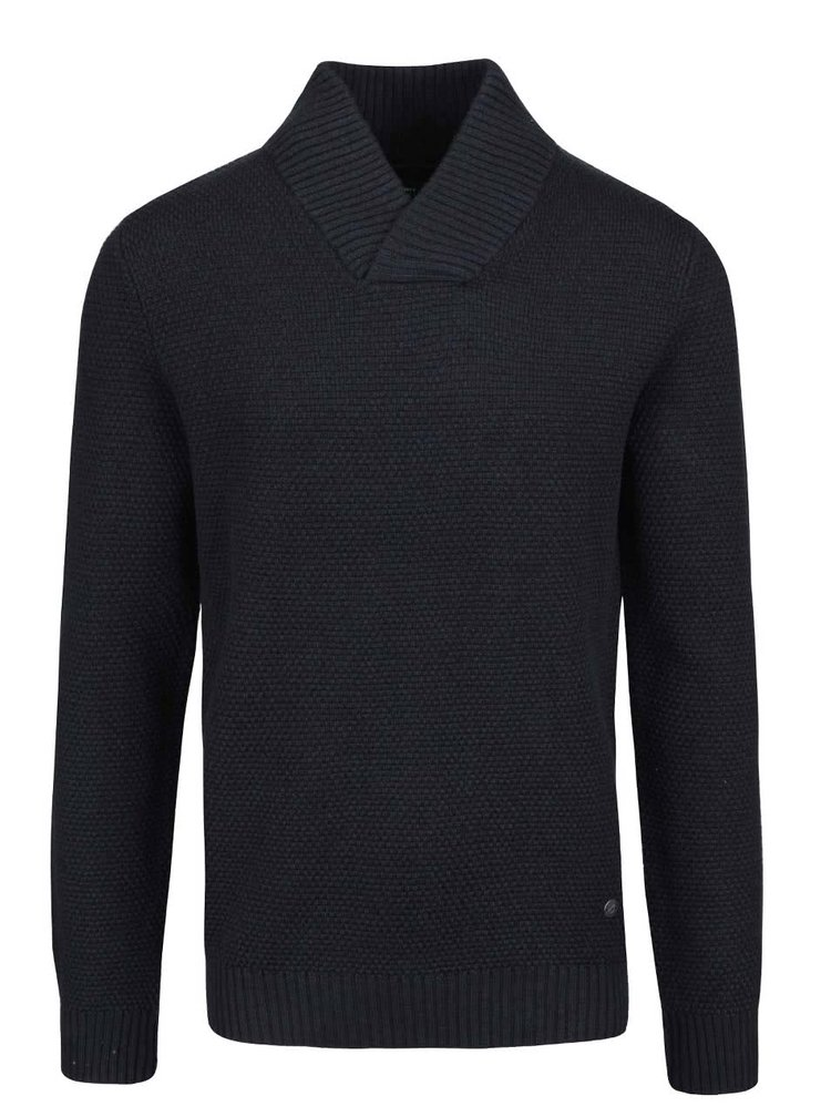 Tmavomodrý sveter s golierom Jack & Jones Tobias