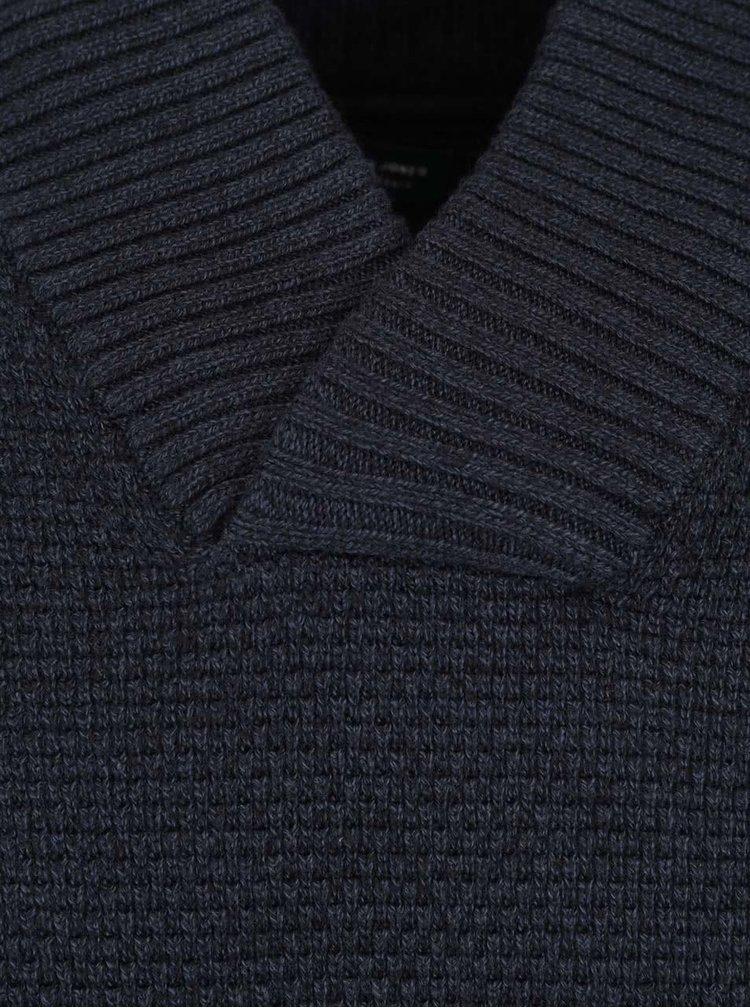 Pulover albastru închis din bumbac Jack & Jones Tobias cu guler