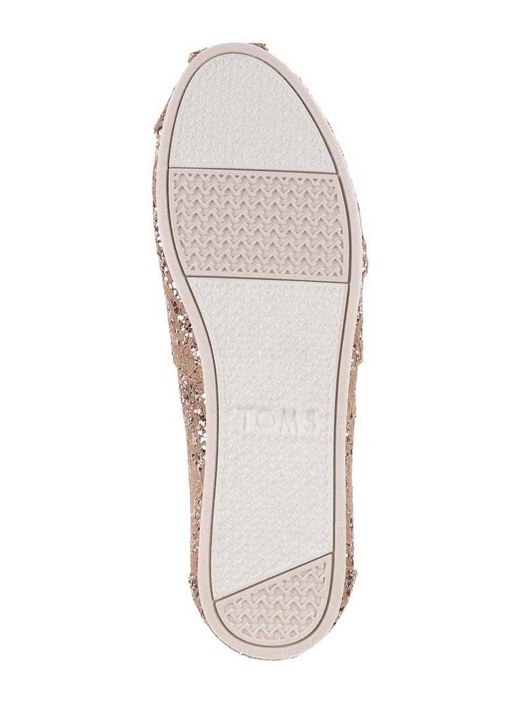 Hnedé dámske loafers s trblietkami v zlatej farbe Toms