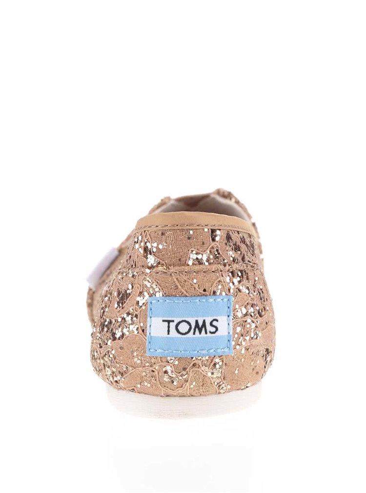 Espadrile maro cu paiete TOMS pentru femei
