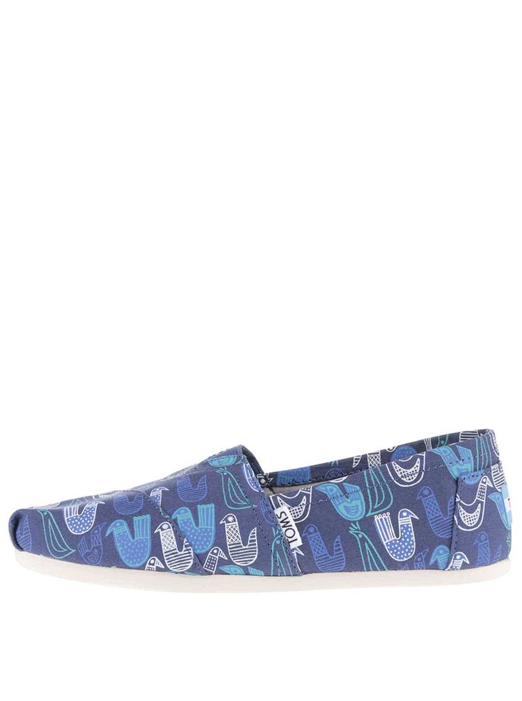 Tmavě modré dámské loafers s potiskem ptáčků TOMS