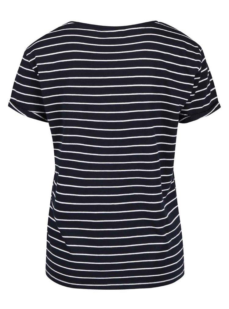 Tmavomodré pruhované tričko s potlačou ONLY Medea